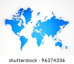 blue world map on a white... | Shutterstock . vector #96374336