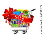 illustration of cart full of shopping bag and gift box with sale ribbon - stock vector