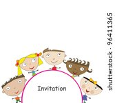 invitation with cute stylized... | Shutterstock .eps vector #96411365