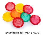 colorful condoms isolated on... | Shutterstock . vector #96417671