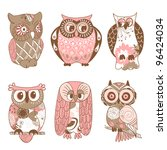 Stock vector collection of six different owls 96424034