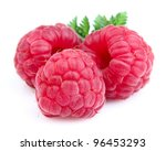 Fresh raspberry with leaves - stock photo
