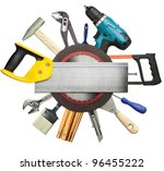 carpentry  construction tools... | Shutterstock . vector #96455222