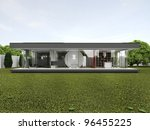 backyard of very modern house   ... | Shutterstock . vector #96455225