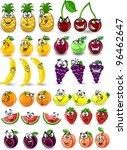 cartoon orange  banana  apples  ... | Shutterstock .eps vector #96462647