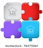 library. raster puzzle. vector... | Shutterstock . vector #96475064