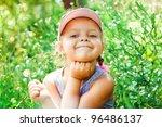 beautiful happy little girl...   Shutterstock . vector #96486137