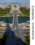 The Pont d'Iena and Trocadero Gardens, as viewed from Eiffel Tower, Paris. - stock photo