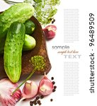 pickling cucumbers and spices... | Shutterstock . vector #96489509