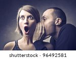 man telling an astonished woman ... | Shutterstock . vector #96492581