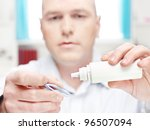 man clean contact lens at home  ... | Shutterstock . vector #96507094