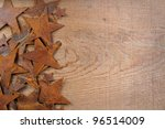 rusty stars on a wooden... | Shutterstock . vector #96514009