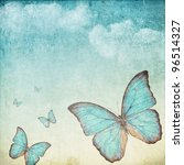 Vintage Background With A Blue...