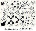 a hand drawn arrows set | Shutterstock .eps vector #96518179