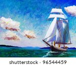 Oil Painting   Sailing Boat