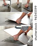 handyman spreading glue on the...   Shutterstock . vector #96545599