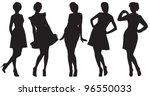 vector silhouette of pretty...