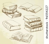 books - hand drawn set - stock vector