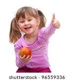 Adorable Little Girl Eating An...