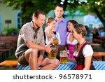 in beer garden   friends in... | Shutterstock . vector #96578971