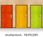 red  green  yellow wooden doors. | Shutterstock . vector #96592285