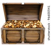 Old Wooden Chest With Gold...