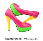 Pink Green Yellow High Heels...