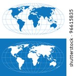 vector world map with grid.... | Shutterstock .eps vector #96615835