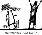 woman pointing and accusing a... | Shutterstock .eps vector #96616987