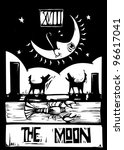 Woodcut style Tarot card for the moon - stock vector