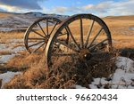 Old Wooden Wagon Wheels In The...