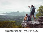 backpackers on top of a...   Shutterstock . vector #96644665