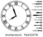 vector clock dial with roman numbers and set of clock hands - stock vector