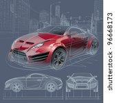 sports car blueprint. original... | Shutterstock . vector #96668173