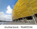 GDANSK, POLAND - FEBRUARY 7: Newly built PGE Arena stadium for 43,615 spectators. The stadium was built specifically for the Euro 2012 Championship. February 7, 2012 in Gdansk, Poland. - stock photo