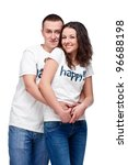 Young happy couple embracing isolated on white - stock photo