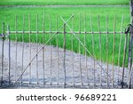 bamboo gate with paddy field... | Shutterstock . vector #96689221