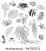 black and white pencil sketches ...   Shutterstock .eps vector #96705271
