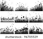 Nine Vector Grass Silhouettes...
