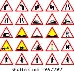 a group of warning traffic... | Shutterstock . vector #967292