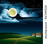 summer night with full moon and ... | Shutterstock .eps vector #96749524