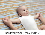 a mother makes gym exersice her ...   Shutterstock . vector #96749842