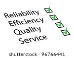Reliability, Efficiency, Quality, Service - stock vector