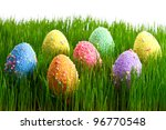 colorful easter eggs in the... | Shutterstock . vector #96770548