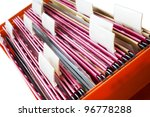 office folders with blank labels, free copy space - stock photo
