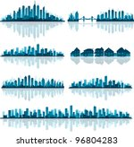 blue cityscape silhouette with... | Shutterstock .eps vector #96804283