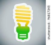 Energy saving light bulb on grey background - stock vector