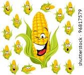 Sweet Corn Cartoon With Many...