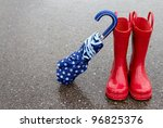 red rain boots and polka dot... | Shutterstock . vector #96825376