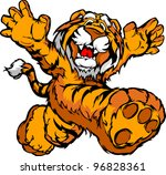 smiling tiger running with...